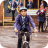 Boy Cycling To School