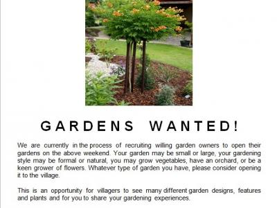 open gardens wanted